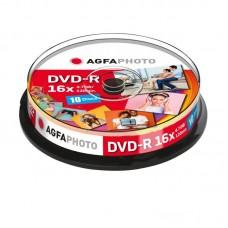 AgfaPhoto DVD-R medij, 10 na osi, 4,7GB, 16x, Cakebox