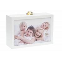 Hranilnik - šparovček s fotografijo 10x15cm, Deknudt Savings Box S66RR1, bel, lesen