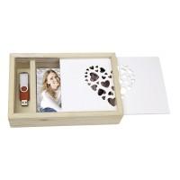 Lesena škatla za shranjevanje fotografij in USB ključka ZEP Love Box USB 13x18 Wood CZ1257