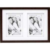 Okvir za fotografije Deknudt S65KQ2 2x13x18 Wood Gallery, rjav, lesen, z dvojnim Passepartout