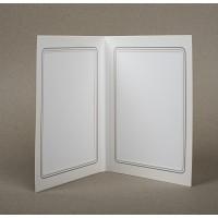Mapa, zgibanka, album za 2 fotografiji 13x18 cm, bela, ornament, siva srebrna obroba