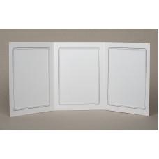 Mapa, zgibanka, album za 3 fotografije 13x18 cm, bela, siva srebrna obroba